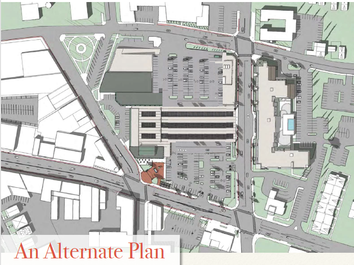 Diagram showing an alternative Lackawanna Station design