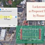 Picture showing size comparison of a football field and Pinnacle's proposed parking lot